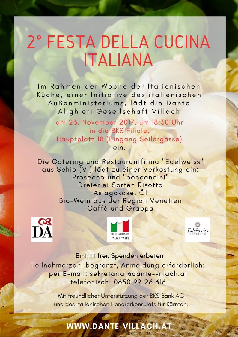 2° Festa della Cucina Italiana Dante Alighieri Villach